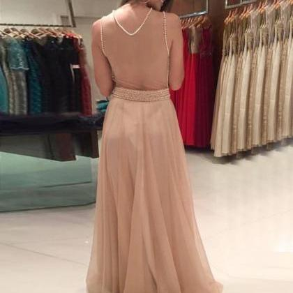 champagne prom dress, beaded prom d..