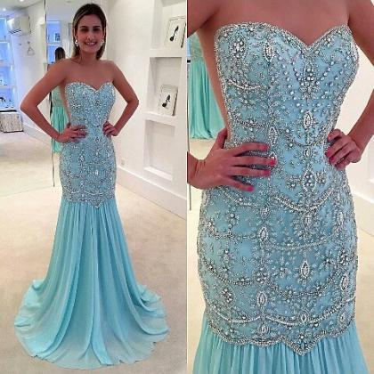 luxury evening dress, blue evening ..
