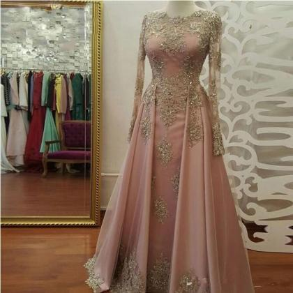 pink prom dress, lace applique prom..
