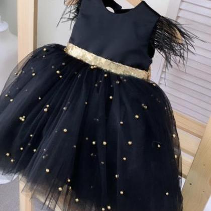 cute flower girl dress, black flowe..