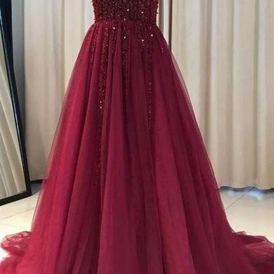burgundy prom dress, v neck prom dr..