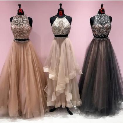 2 piece prom dresses, champagne pro..