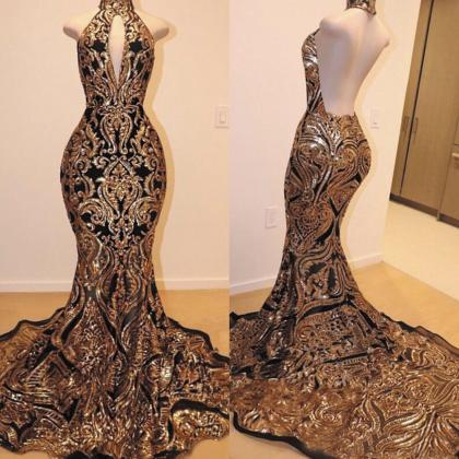 black and gold evening dress, merma..