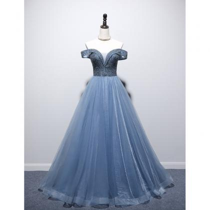dusty blue prom dress, off the shou..