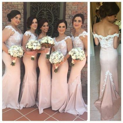 Mermaid Bridesmaid Dress, Pink Brid..