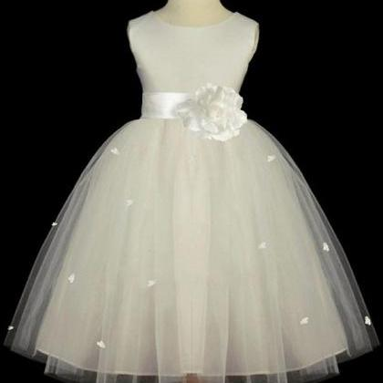 Ivory Soft Tulle Flower Girl Dresse..