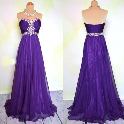 Elegant Long Purple Prom Dress, Chi..