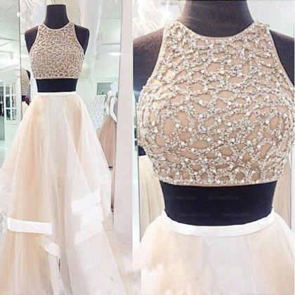 Champagne Prom Dress, Two Piece Pro..