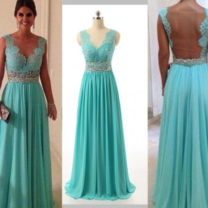 Turquoise Blue Prom Dress, Long Pro..