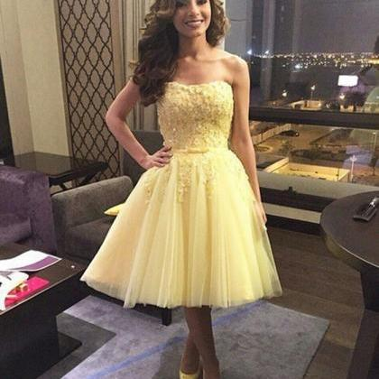 Tulle Homecoming Dress, Pale Yellow..