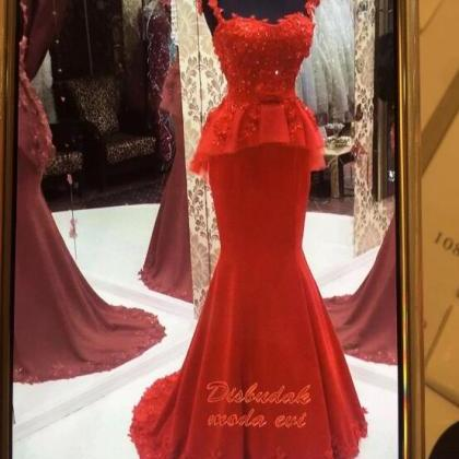 Mermaid Evening Dress, Red Evening ..