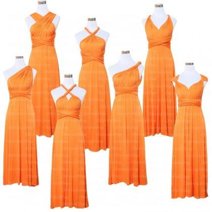 Orange Bridesmaid Dress, Convertibl..