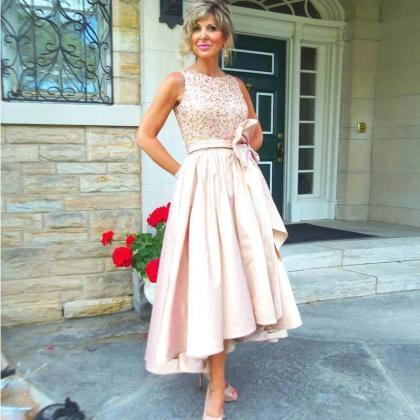 High Low Prom Dress, Rose Sequins P..