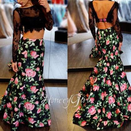 Printed Evening Dress, Mermaid Even..