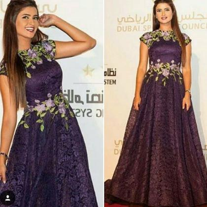 Purple Prom Dress, Lace Prom Dress,..