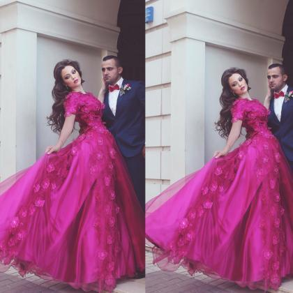 3D Flowers Prom Dresses, Hot Pink P..