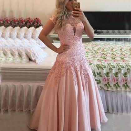 Pink Evening Dress, Mermaid Evening..