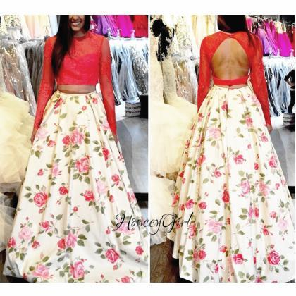 Printed Prom Dress, Red Prom Dress,..