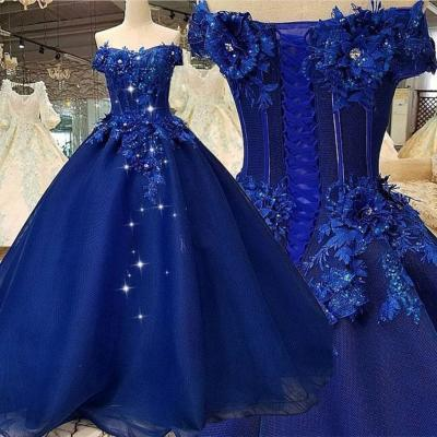 Off the Shoulder Prom Dress, Ball Gown Prom Dress, Royal Blue Prom Dress, Prom Dresses 2018, Lace Applique Prom Dress, Elegant Prom Dress, Prom Ball Gown