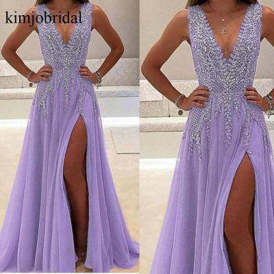 Purple Prom Dress, V Neck Prom Dress, Prom Dresses 2019, Luxury Prom Dress, Beaded Prom Dress, Prom Dresses Long, Sexy Formal Dress, Prom Gown, Elegant Prom Dress