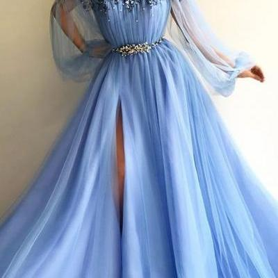 blue prom dress, flare sleeve prom dress, beaded prom dress, 3d flowers prom dress, elegant prom dress, cheap prom dress, prom dresses 2020, vestido de longo, robe de soiree, prom gown