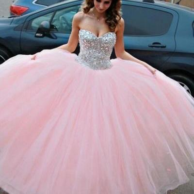 Pink Prom Dress, Sweet 16 Dresses, Crystals Prom Dress, Tulle Prom Dress, Puffy Prom Dress, Graduation Dresses 2016, Sweetheart Prom Dresses, 2016 Prom Ball Gown