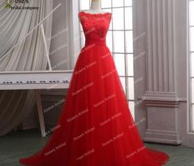 Tulle Red Prom Dress..
