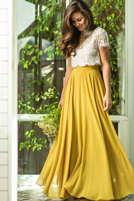 Mustard Prom Dress 2 Piece Prom Dresses Lace Prom Dress Chiffon