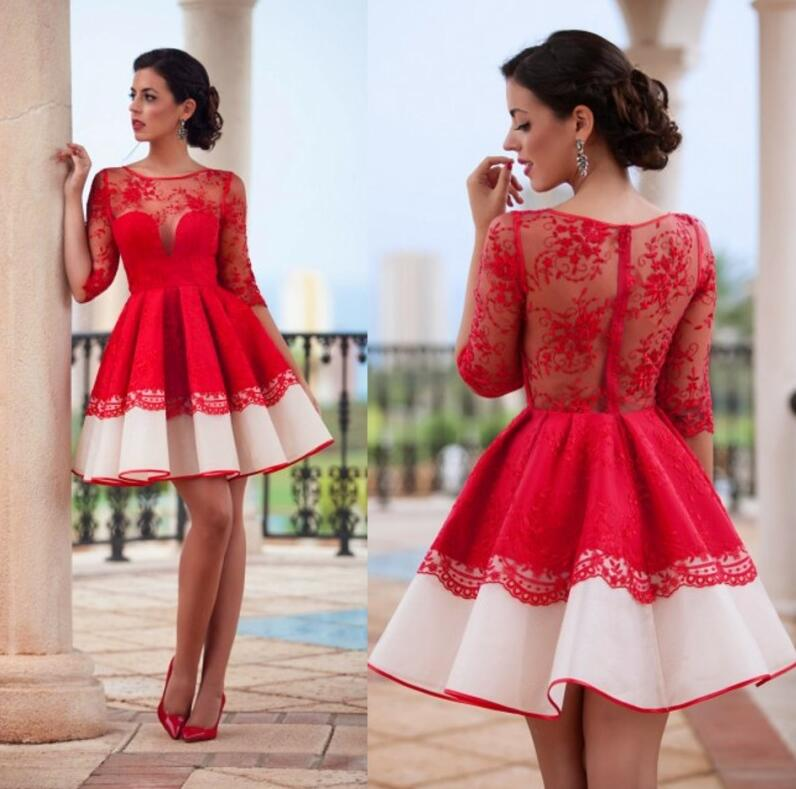 Red Homecoming Dress, Cocktail Dresses, Lace Applique Homecoming Dress, Long Sleeve Homecoming Dress, Short Homecoming Dress, Saudi Arabic Prom Dress, Short Prom Dress, A Line Prom Dress, Cheap Graduation Dresses