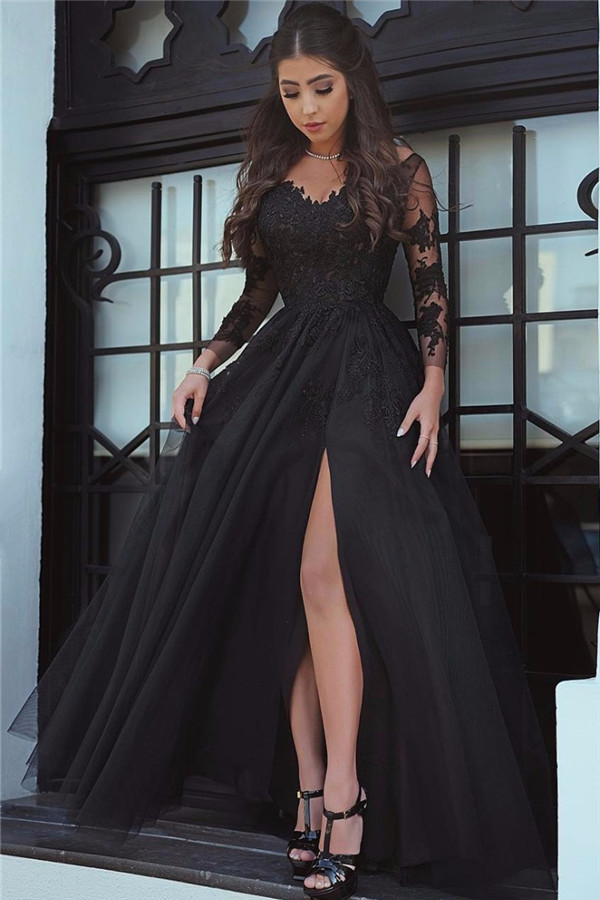 Black Prom Dress Long Sleeve Prom Dress Lace Applique Prom Dress
