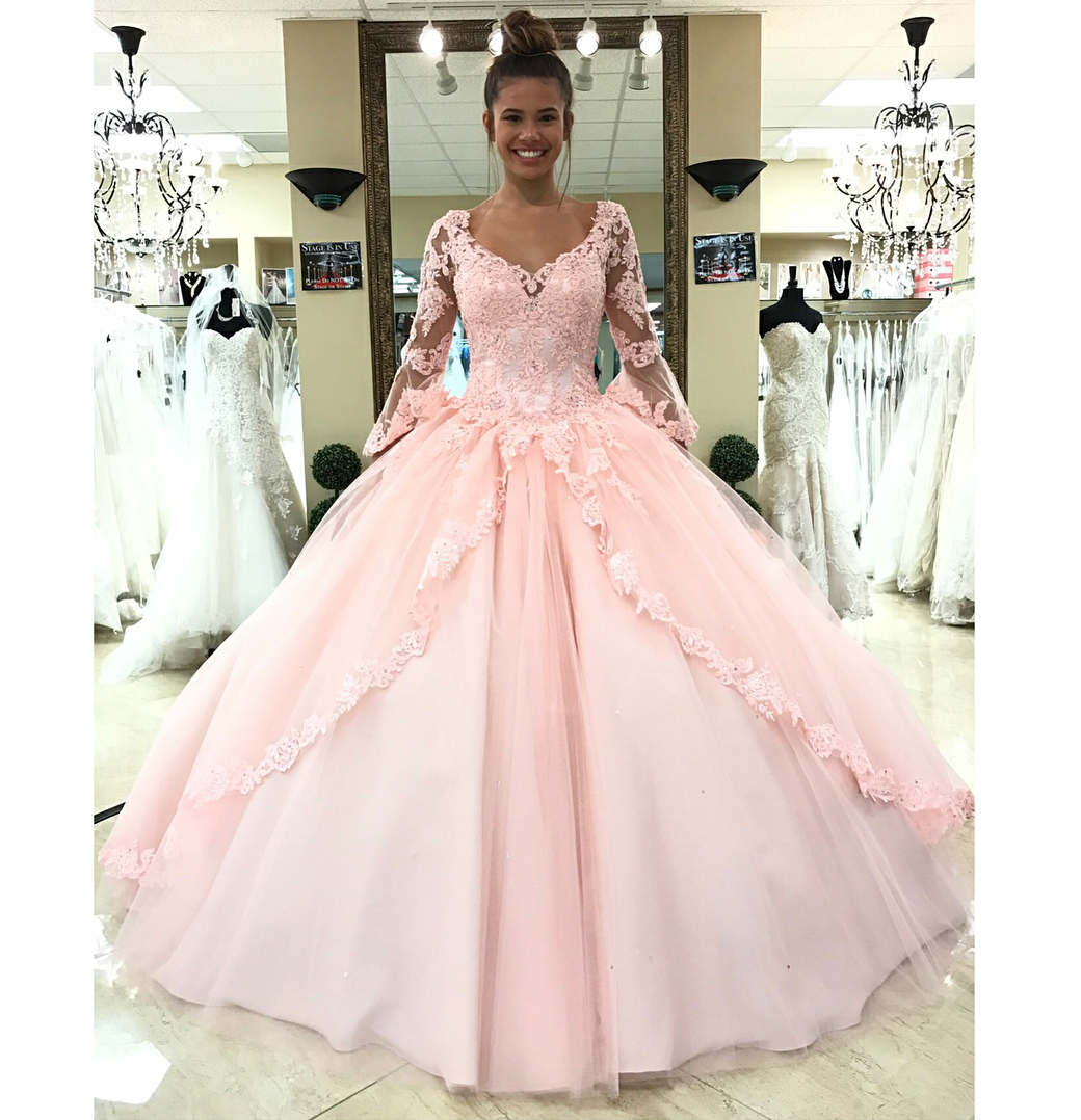 Long Sleeve Prom Dress, Prom Ball Gown, Pink Prom Dress, Lace ...