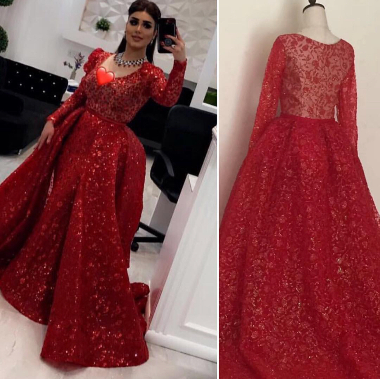 Red Prom Dress, Arabic Prom Dress, Long Sleeve Prom Dress, Prom ...