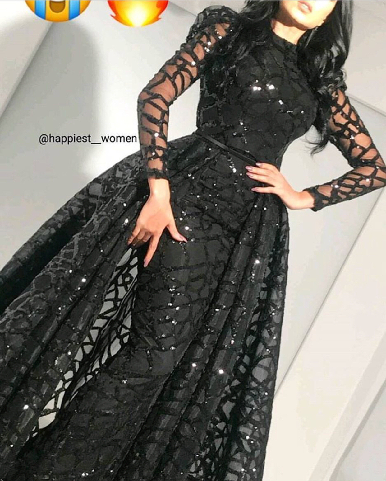 Black Prom Dress Detachable Skirt Prom Dress Long Sleeve