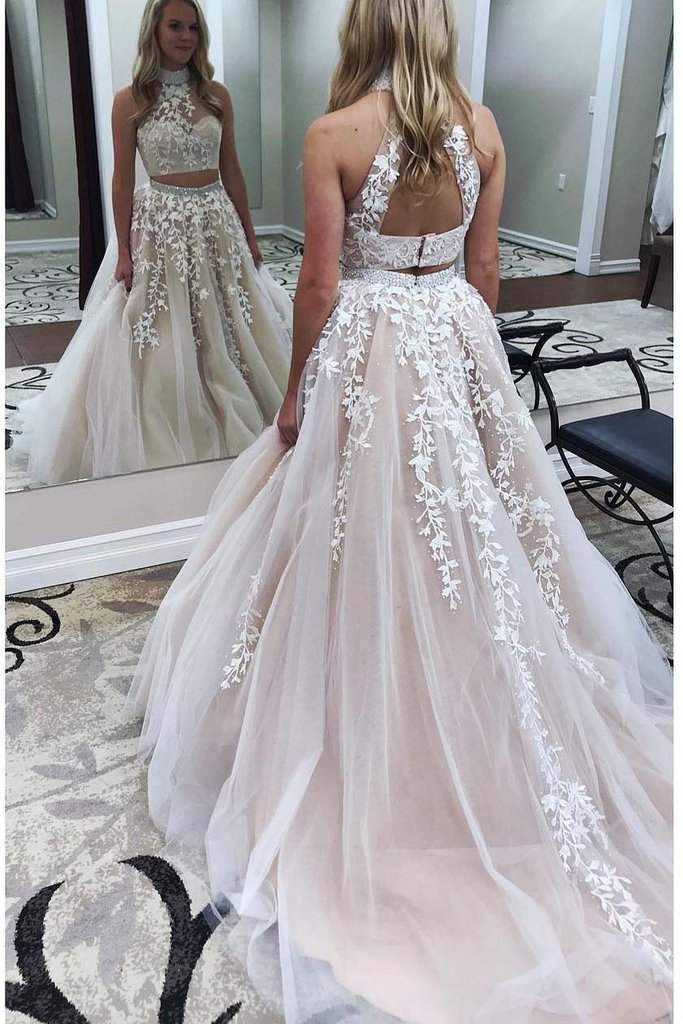 Two Piece Prom Dresses, Champagne Prom Dress, High Neck Prom Dress ...