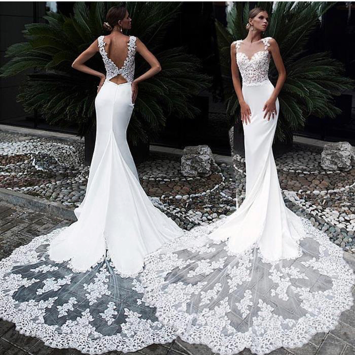 Mermaid Wedding Dress, Lace Applique Wedding Dress, Sexy