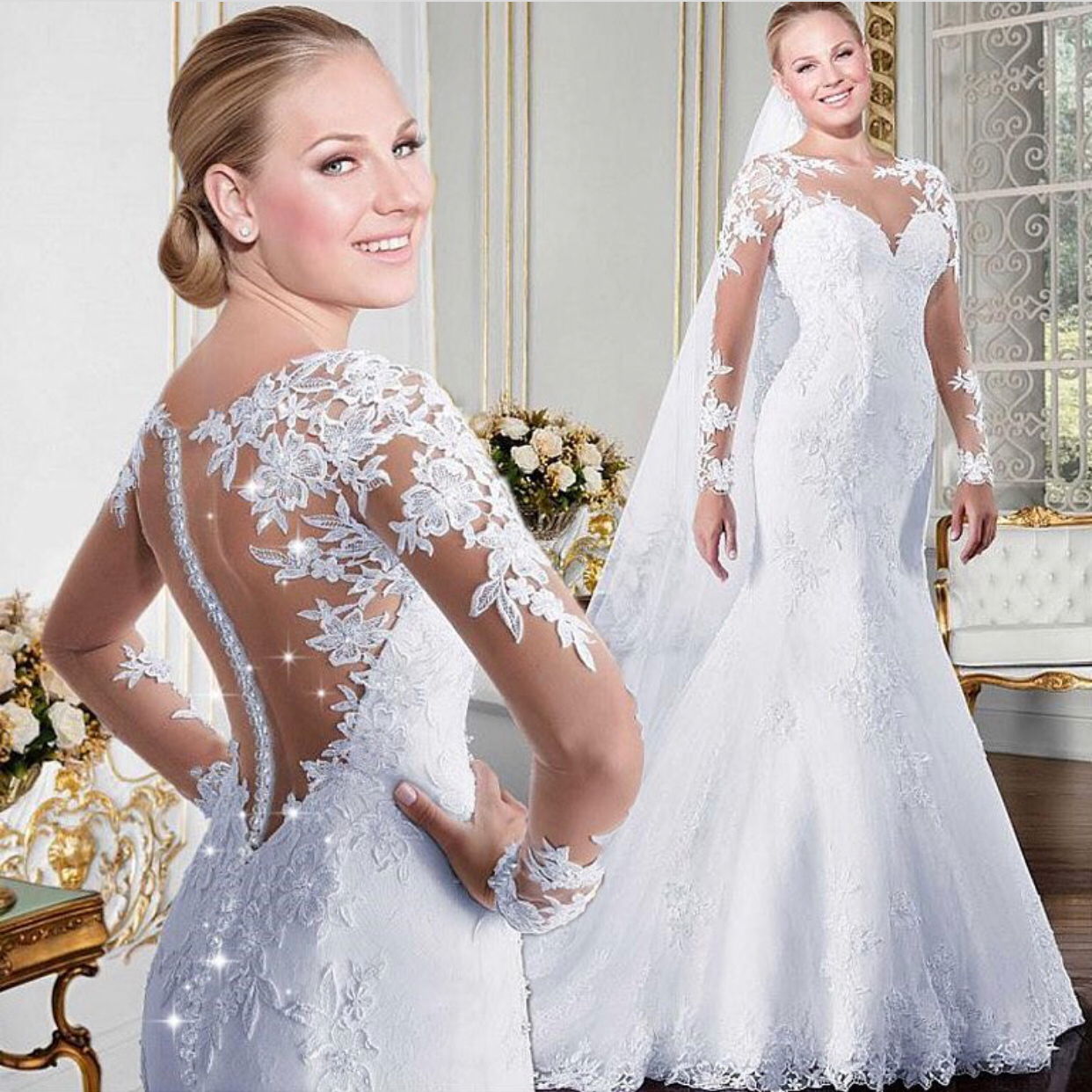 Long Sleeve Wedding Dress Mermaid Elegant Lace Lique Dresses 2018 Custom Make