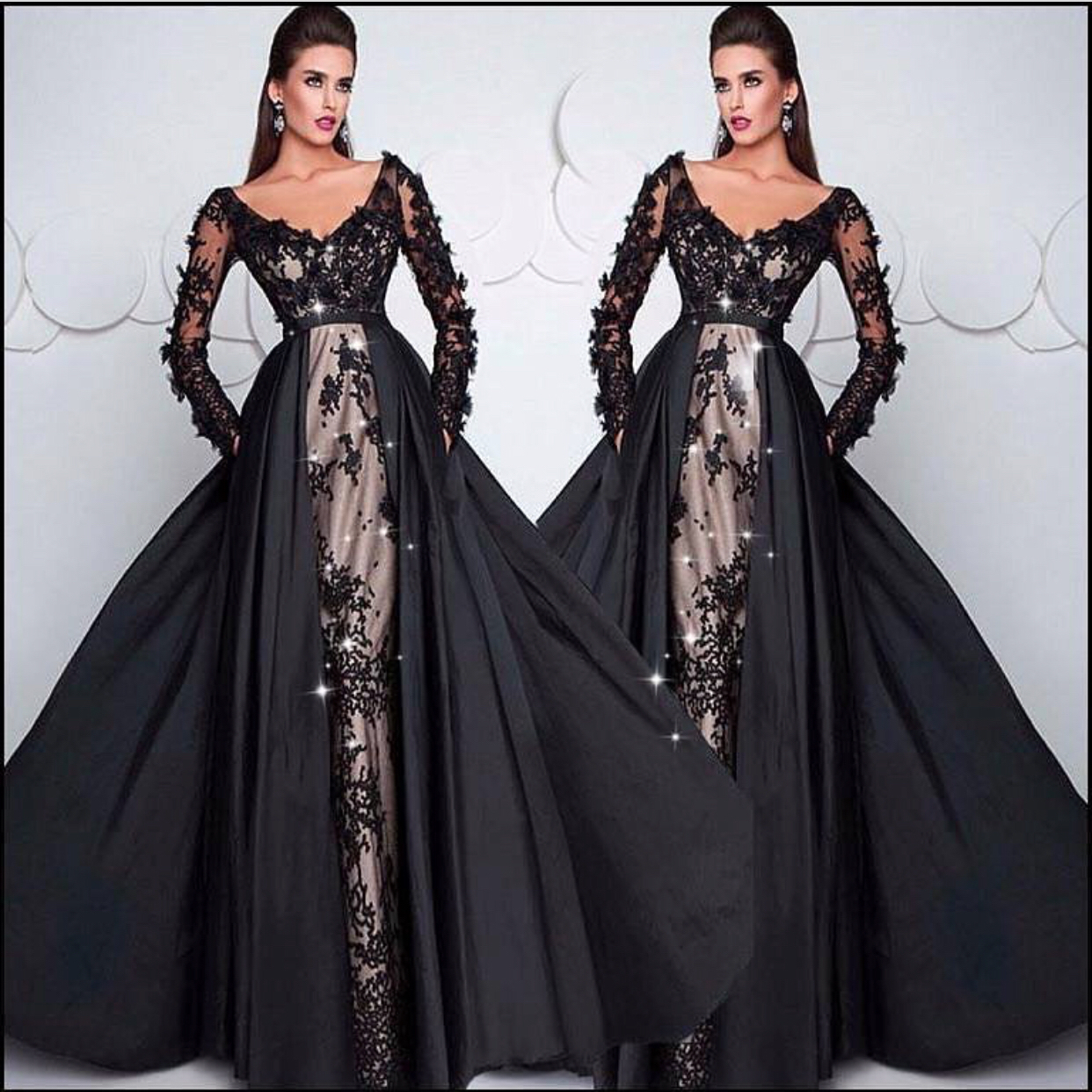 1fda9fa025a8 Black Evening Dress, Detachable Skirt Evening Dress, Evening Dresses 2019,  Vestido De Festa, Lace Applique Evening Dress, Long Sleeve Evening Dress,  Women ...