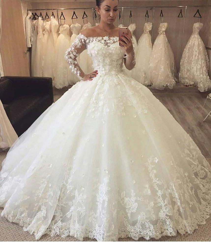 Long Sleeve Wedding Dress Lace Applique Wedding Dress Wedding