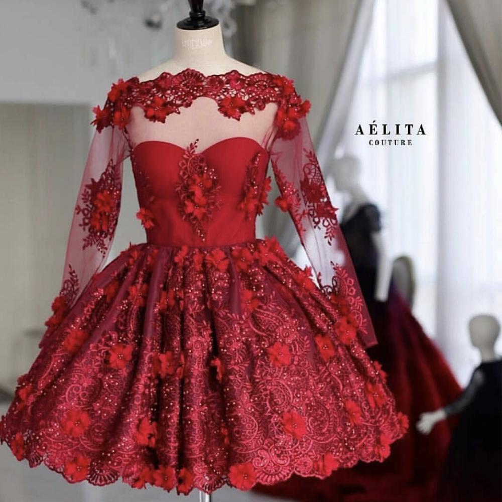 Short Prom Dress, Homecoming Dresses Short, Lace Applique Prom Dress, Beaded Prom Dress, Long Sleeve Prom Dress, Burgundy Prom Dress, Elegant Prom Dress, Cocktail Dresses 2019