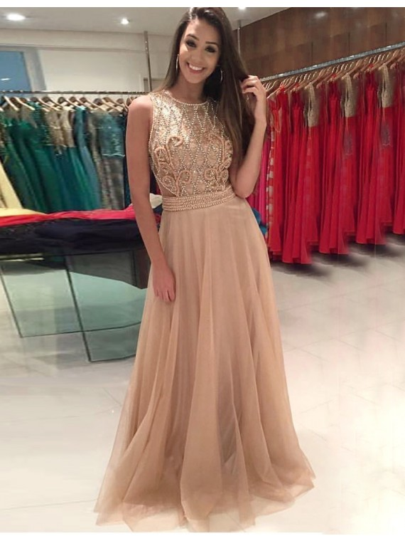 champagne prom dress, beaded prom dress, lace prom dress, tulle prom dress, prom dresses long, cheap prom dress, elegant prom dress, vestido de festa, robe de soiree, a line prom dress, prom dresses 2020