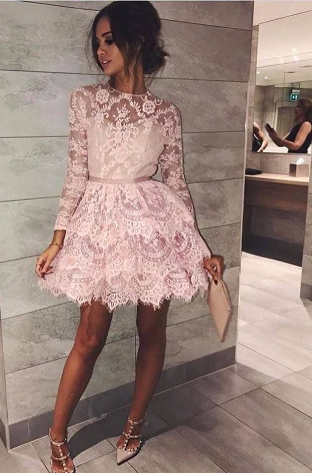 short prom dress, lace applique prom dress, two layers prom dress, tiered prom dress, pink prom dress, homecoming dresses short, long sleeve prom dress, cheap prom dress, prom gown, cocktail dress, 2020 prom dress
