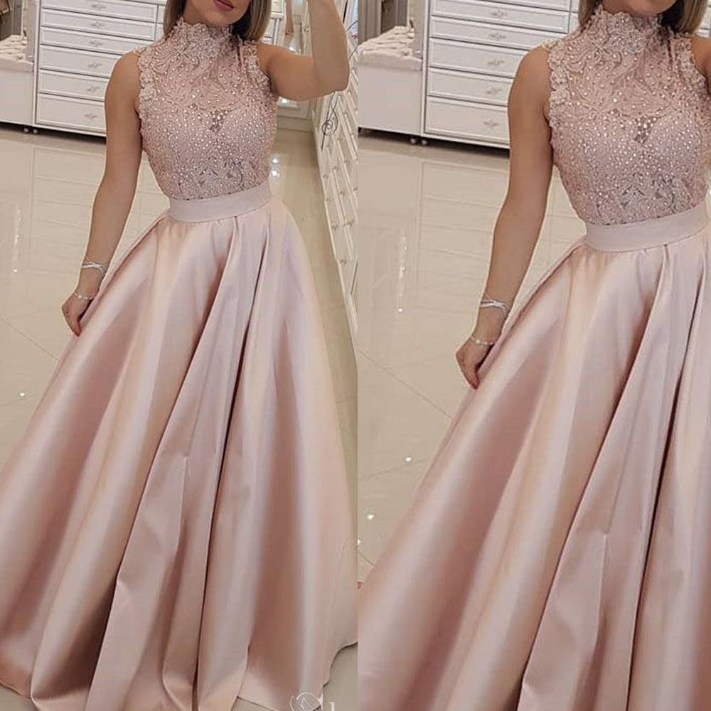 champagne prom dress, lace applique prom dress, beaded prom dress, prom gown, vestido de longo, elegant prom dress, a line prom dress, prom dresses 2020, vestido de longo, satin prom dresses, prom dresses long