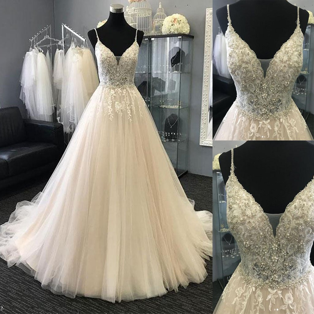 wedding dresses for bride, lace applique wedding dresses, robe de soiree, beaded wedding dress, wedding gowns, bridal dresses, 2020 wedding dress, bridal dresses, a line wedding dress