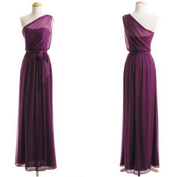 Plum Bridesmaid Dresses, One Shoulder Bridesmaid Dress, 2015 Bridesmaid Dresses, Long Bridesmaid Dress, Purple Bridesmaid Dresses, Hot Sale Prom Dresses, Formal Party Dresses