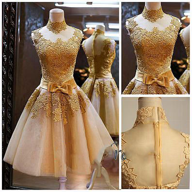 Gold Homecoming Dresses Lace Cocktail Dresses Tulle Prom