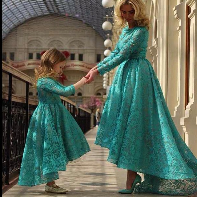 Hunter Green Prom Dresses Mother And Little Girls Evening Dresses