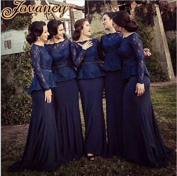Modest Navy Blue Lace Bridesmaid Dresses e01fd11861eb