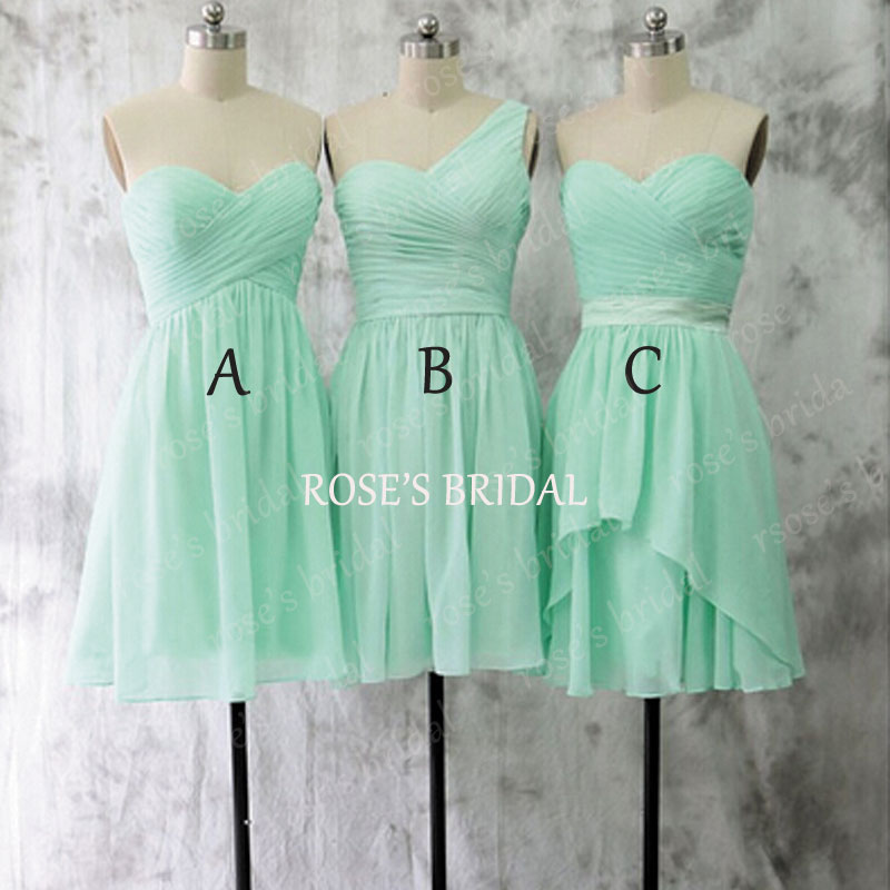 Mismatch Short Mint Green Bridesmaid Dresses Chiffon Dress Wedding Party Junior