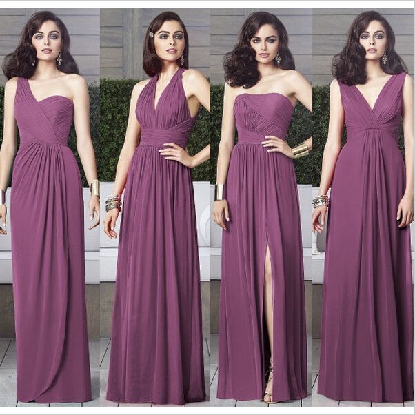 ee54bbba457 Purple Mismatched Bridesmaid Dresses