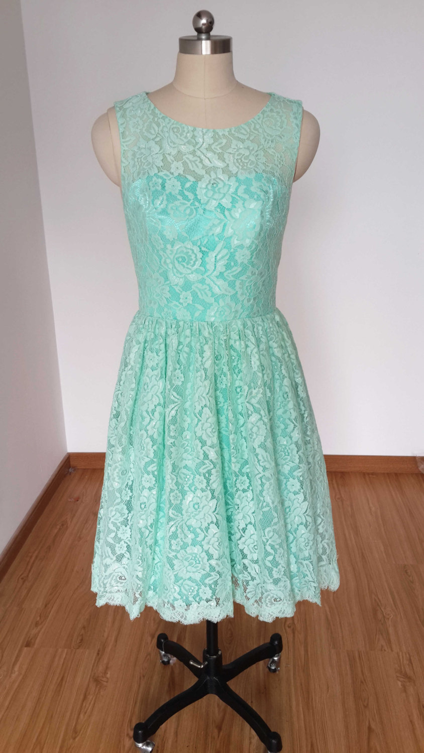 Mint Green Lace Bridesmaid Dress, Junior Bridesmaid Dresses, Knee ...